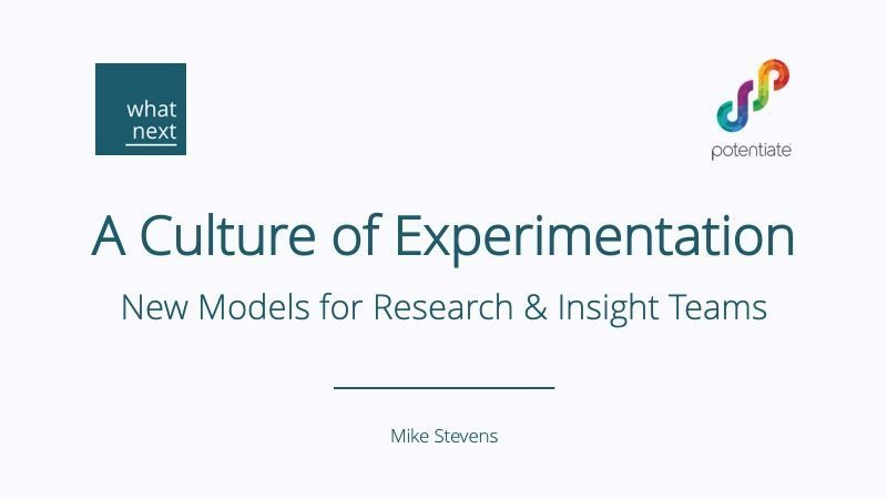 Culture of Experimentation for Insight