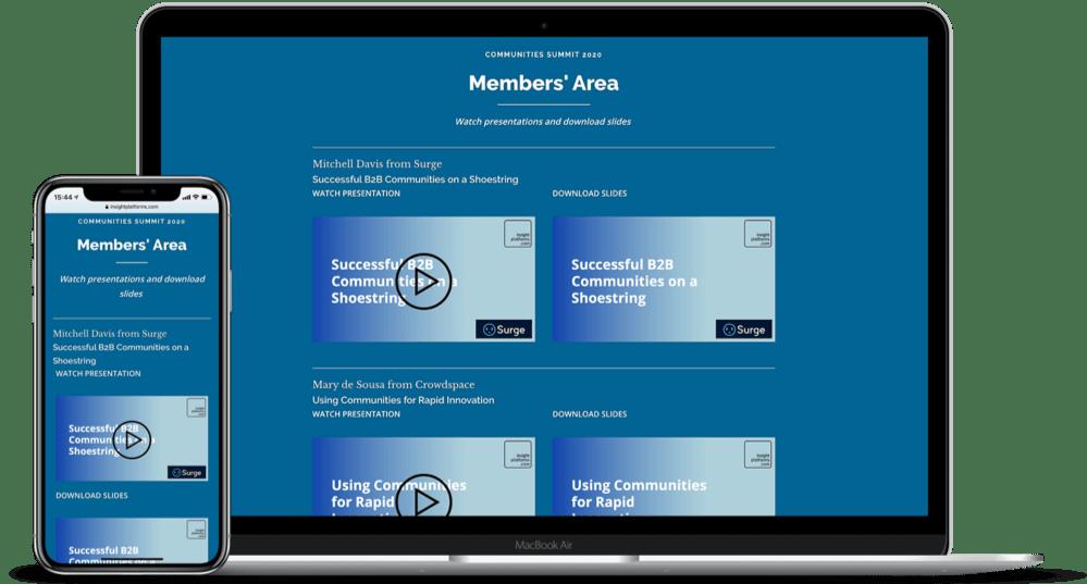 Communities Summit Members' Area 2 - Insight Platforms