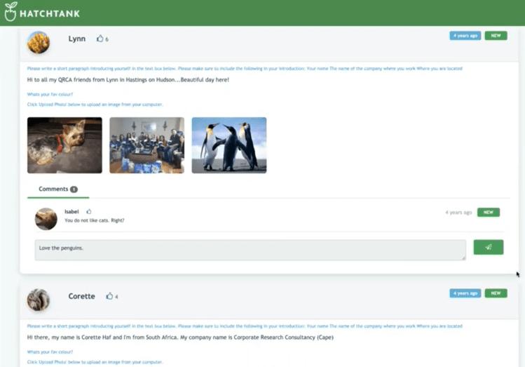 HatchTank Demo Screenshot - Discussion Forum - Insight Platforms