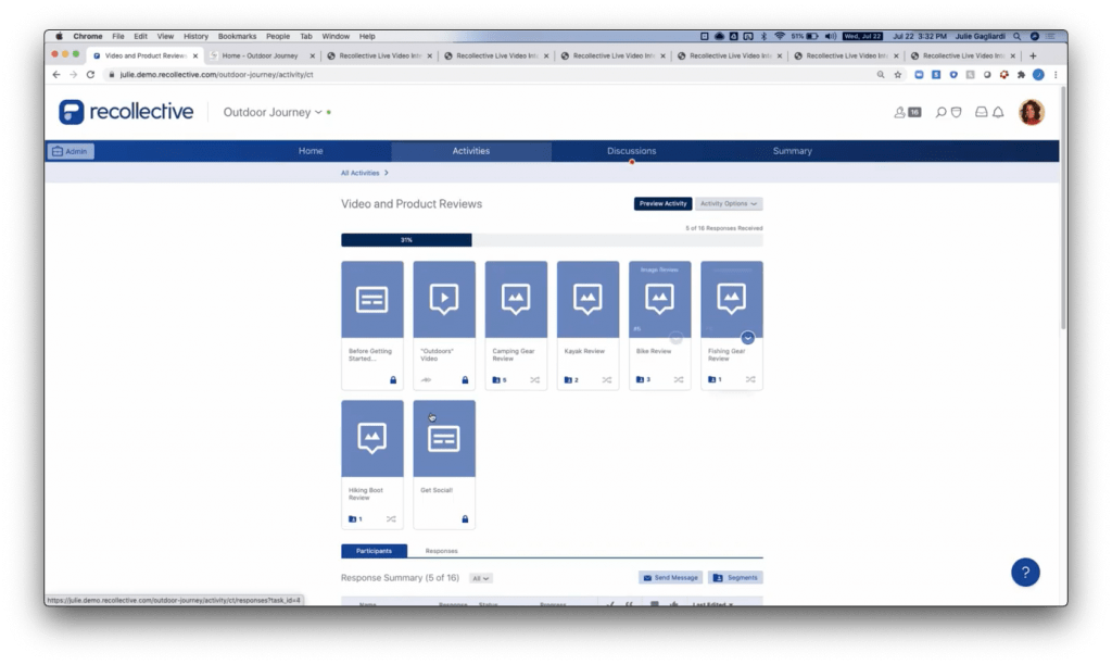 Recollective Demo Screenshot - Project Workspace - Insight Platforms