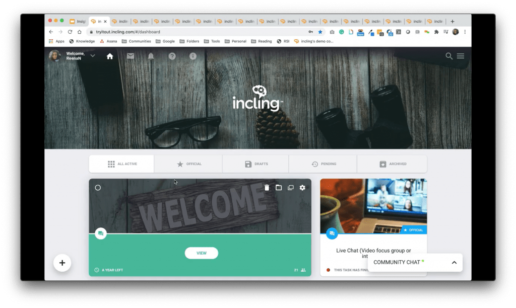 incling Demo Screenshot - Community Interface - Insight Platforms